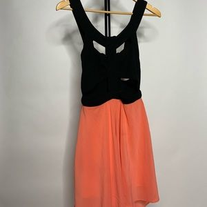 Reverse Cut Out High Low Coral Sun Dress